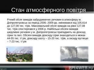 Річний обсяг викидів забруднюючих речовин в атмосферу м. Дніпропетровськ за пері