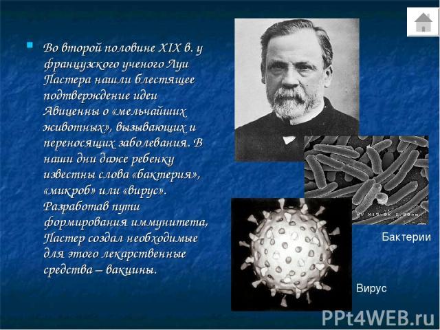 Во второй половине XIX в. у французского ученого Луи Пастера нашли блестящее подтверждение идеи Авиценны о «мельчайших животных», вызывающих и переносящих заболевания. В наши дни даже ребенку известны слова «бактерия», «микроб» или «вирус». Разработ…