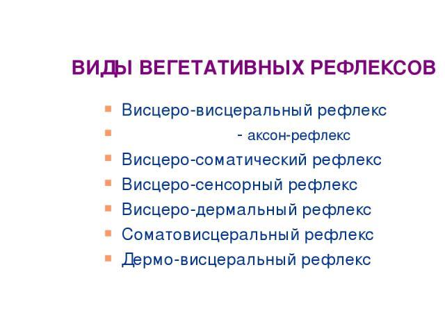 ВИДЫ ВЕГЕТАТИВНЫХ РЕФЛЕКСОВ Висцеро-висцеральный рефлекс - аксон-рефлекс Висцеро-соматический рефлекс Висцеро-сенсорный рефлекс Висцеро-дермальный рефлекс Соматовисцеральный рефлекс Дермо-висцеральный рефлекс