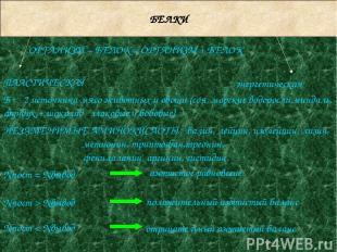 БЕЛКИ ОРГАНИЗМ – БЕЛОК = ОРГАНИЗМ + БЕЛОК энергетическая НЕЗАМЕНИМЫЕ АМИНОКИСЛОТ