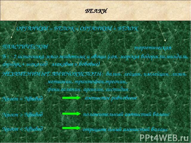 БЕЛКИ ОРГАНИЗМ – БЕЛОК = ОРГАНИЗМ + БЕЛОК энергетическая НЕЗАМЕНИМЫЕ АМИНОКИСЛОТЫ: валин, лейцин, изолейцин, лизин, метионин, триптофан,треонин, фенилаланин, аргинин, гистидин. Nпост = Nвывод азотистое равновесие Nпост > Nвывод Nпост < Nвывод положи…