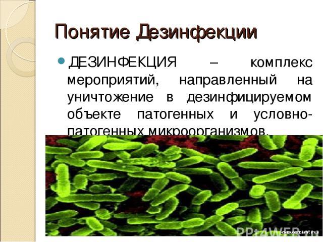 Понятие Дезинфекции ДЕЗИНФЕКЦИЯ – комплекс мероприятий, направленный на уничтожение в дезинфицируемом объекте патогенных и условно-патогенных микроорганизмов.