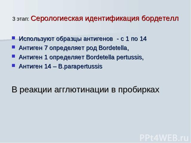 3 этап: Серологиеская идентификация бордетелл Используют образцы антигенов - с 1 по 14 Антиген 7 определяет род Bordetella, Антиген 1 определяет Bordetella pertussis, Антиген 14 – B.parapertussis В реакции агглютинации в пробирках