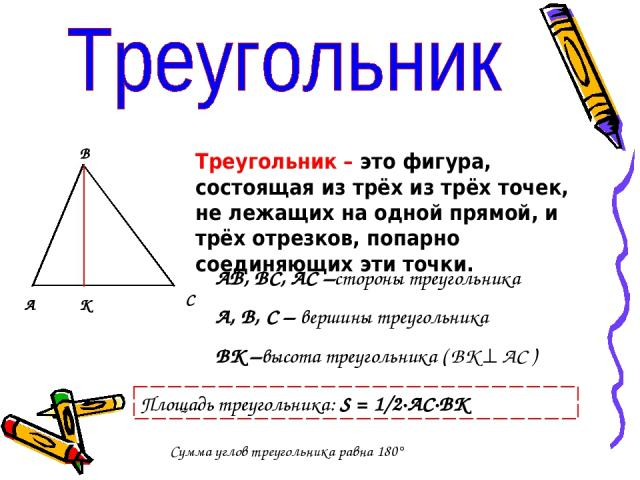 А В С К Треугольник – это фигура, состоящая из трёх из трёх точек, не лежащих на одной прямой, и трёх отрезков, попарно соединяющих эти точки. АВ, ВС, АС –стороны треугольника А, В, С – вершины треугольника ВК –высота треугольника ( ВК АС ) Площадь …