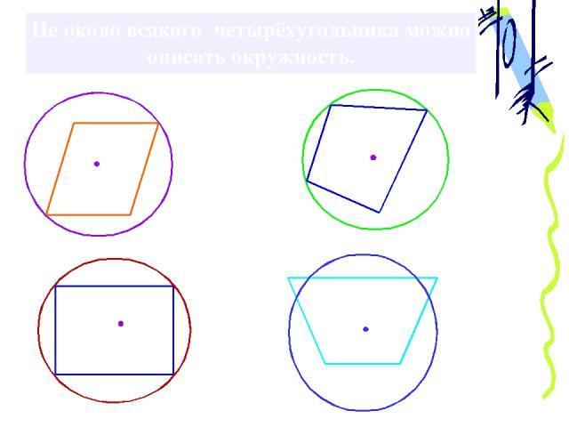 Не около всякого четырёхугольника можно описать окружность.