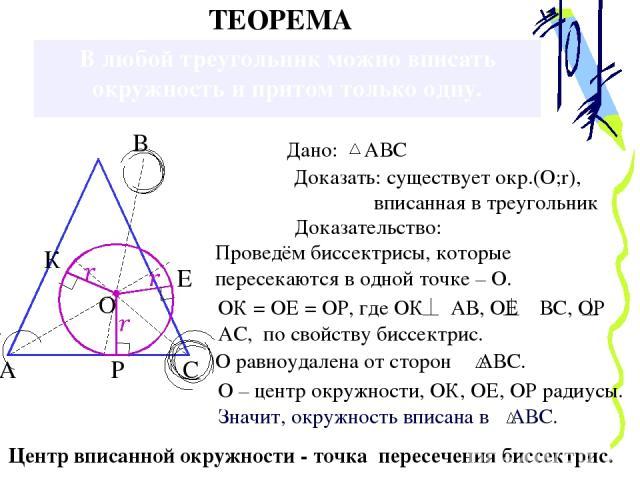 В любой треугольник можно вписать окружность и притом только одну. А Доказать: существует окр.(О;r), вписанная в треугольник Доказательство: Проведём биссектрисы, которые пересекаются в одной точке – О. ОК = ОЕ = ОР, где ОК АВ, ОЕ ВС, ОР АС, по свой…