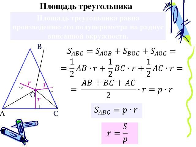 Площадь треугольника равна произведению его полупериметра на радиус вписанной окружности. А Площадь треугольника В С О