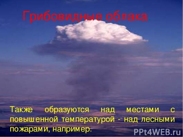 Грибовидные облака. Также образуются над местами с повышенной температурой - над лесными пожарами, например.