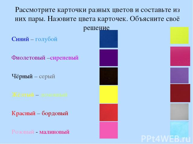 Рассмотрите карточки разных цветов и составьте из них пары. Назовите цвета карточек. Объясните своё решение Синий – голубой Фиолетовый –сиреневый Чёрный – серый Жёлтый – лемонный Красный – бордовый Розовый - малиновый