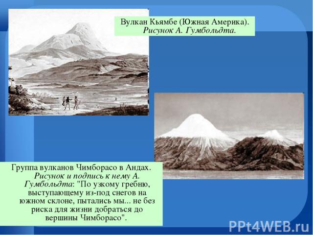 Вулкан Кьямбе (Южная Америка). Рисунок А. Гумбольдта. Группа вулканов Чимборасо в Андах. Рисунок и подпись к нему А. Гумбольдта: