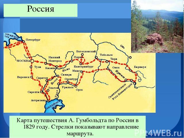 Карта путешествия А. Гумбольдта по России в 1829 году. Стрелки показывают направление маршрута. Россия
