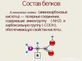 Состав белков Аминокислоты (аминокарбоновые кислоты) — полярные соединения, соде