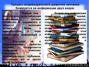 Процесс индивидуального развития человека базируется на информации двух видов. П