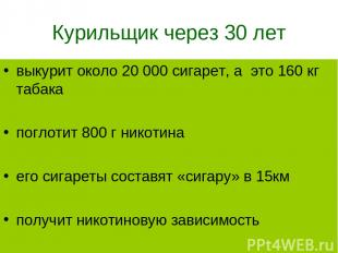 Курильщик через 30 лет выкурит около 20 000 сигарет, а это 160 кг табака поглоти