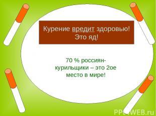 70 % россиян- курильщики – это 2ое место в мире! Курение вредит здоровью! Это яд