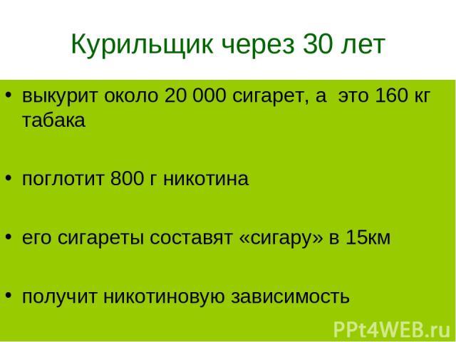 Курильщик через 30 лет выкурит около 20 000 сигарет, а это 160 кг табака поглотит 800 г никотина его сигареты составят «сигару» в 15км получит никотиновую зависимость