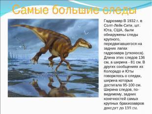 Гадрозавр В 1932 г. в Солт-Лейк-Сити, шт. Юта, США, были обнаружены следы крупно