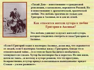 «Тихий Дон» - повествование о грандиозной революции, о катаклизме, пережитом Рос