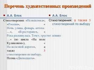 А.А. Блок Стихотворения: «Незнакомка», «Россия», «Ночь, улица, фонарь, аптека…»,