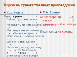 С.А. Есенин Стихотворения: «Гой ты, Русь, моя родная!.. », «Не бродить, не мять