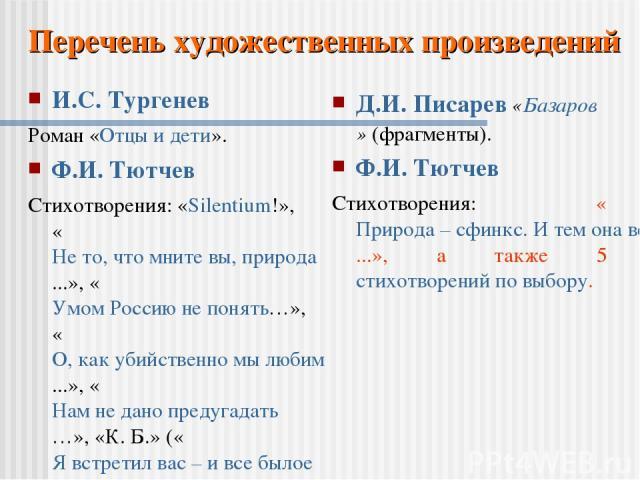 И.С. Тургенев Роман «Отцы и дети». Ф.И. Тютчев Стихотворения: «Silentium!», «Не то, что мните вы, природа...», «Умом Россию не понять…», «О, как убийственно мы любим...», «Нам не дано предугадать…», «К. Б.» («Я встретил вас – и все былое...»), а так…