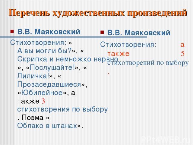 В.В. Маяковский Стихотворения: «А вы могли бы?», «Скрипка и немножко нервно», «Послушайте!», «Лиличка!», «Прозаседавшиеся», «Юбилейное», а также 3 стихотворения по выбору. Поэма «Облако в штанах». В.В. Маяковский Стихотворения: а также 5 стихотворен…