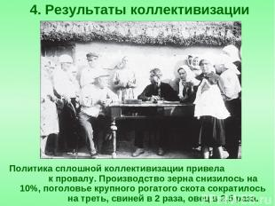 Политика сплошной коллективизации привела к провалу. Производство зерна снизилос