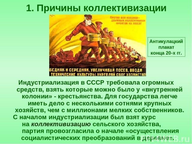 Индустриализация в СССР требовала огромных средств, взять которые можно было у «внутренней колонии» - крестьянства. Для государства легче иметь дело с несколькими сотнями крупных хозяйств, чем с миллионами мелких собственников. С началом индустриали…