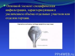 Основной элемент специфическая инфильтрация, характеризующаяся увеличением объём