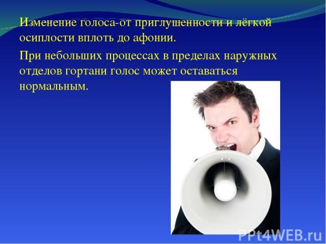 Изменение голоса-от приглушенности и лёгкой осиплости вплоть до афонии. При небольших процессах в пределах наружных отделов гортани голос может оставаться нормальным.