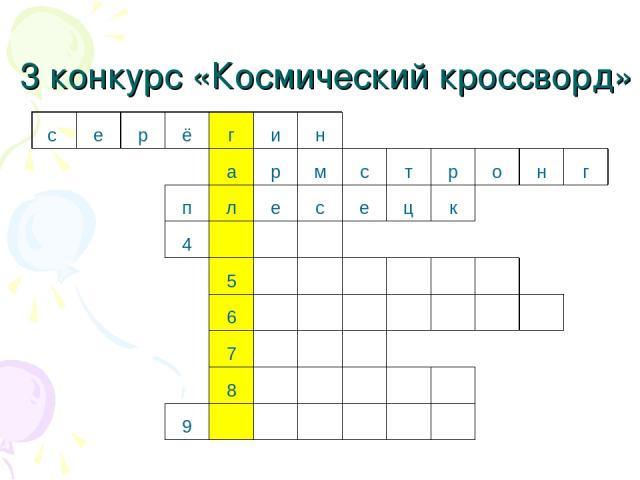 3 конкурс «Космический кроссворд» с е р ё г и н а р м с т р о н г п л е с е ц к 4    5       6        7    8      9
