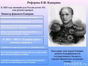 Реформы Е.Ф. Канкрина К 1825 году внешний долг России достиг 102 млн рублей сере