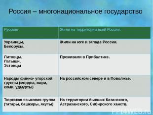 Россия – многонациональное государство Русские Жили на территории всей России. У