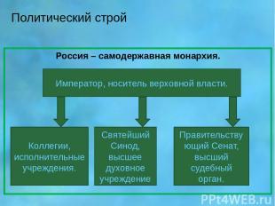 Политический строй Россия – самодержавная монархия. Император, носитель верховно