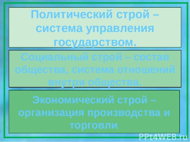 Политический строй – система управления государством. Социальный строй – состав общества, система отношений внутри общества. Экономический строй – организация производства и торговли.