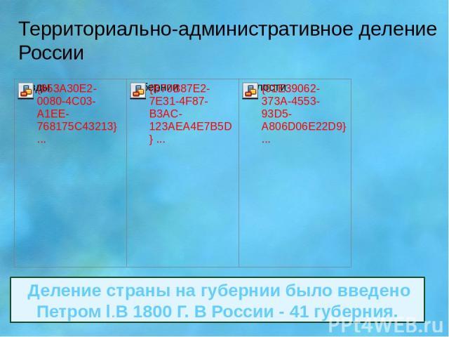 Территориально-административное деление России Деление страны на губернии было введено Петром l.В 1800 Г. В России - 41 губерния.
