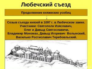Любечский съезд Продолжение княжеских усобиц Созыв съезда князей в 1097 г. в Люб
