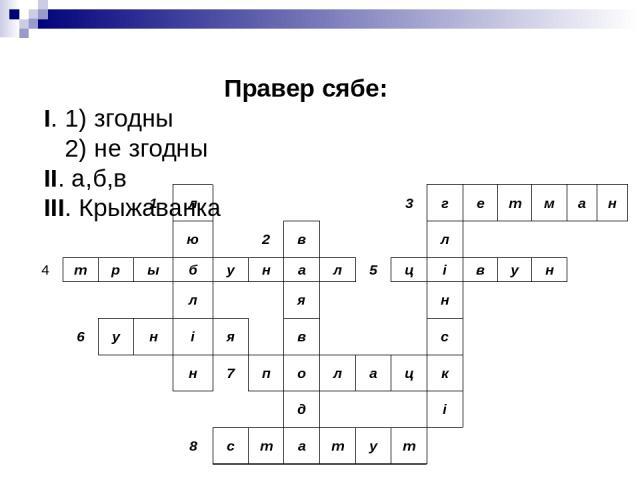 Правер сябе: I. 1) згодны 2) не згодны II. а,б,в III. Крыжаванка