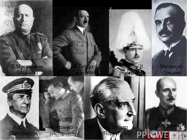 Б.Муссолини (Италия) Хорти (Венгрия) А.Гитлер (Германия) Ф.Франко (Испания) Салазар (Португалия) Кароль II (Румыния) Метаксас (Греция) Борис III (Болгария) Лидеры фашизма Нужно сделать подписи к фото…