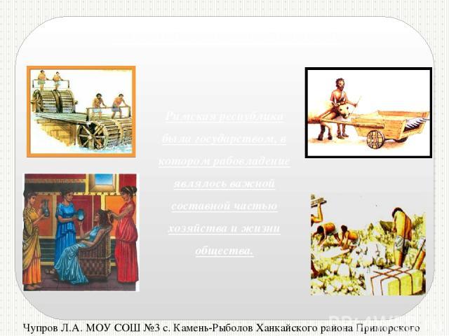 Чупров Л.А. МОУ СОШ №3 с. Камень-Рыболов Ханкайского района Приморского края Рабство в Древнем Риме Римская республика была государством, в котором рабовладение являлось важной составной частью хозяйства и жизни общества.