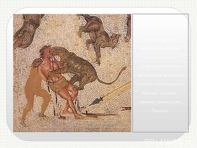 Нередко зрители требовали добить поверженного. Особенный восторг вызывали у зрителей схватки гладиаторов с дикими зверями - львами, пантерами, быками.