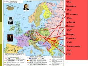 1944 Болгария 1945 Югославия 1946 Албания Польша 1947 Венгрия Румыния 1948 Чехос