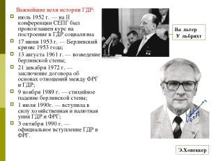 Важнейшие вехи истории ГДР: июль 1952 г. — на II конференции СЕПГ был провозглаш