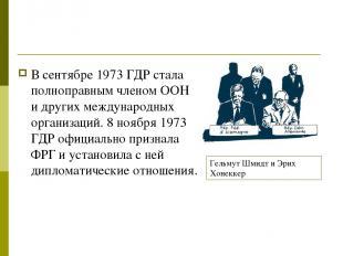 В сентябре 1973 ГДР стала полноправным членом ООН и других международных организ