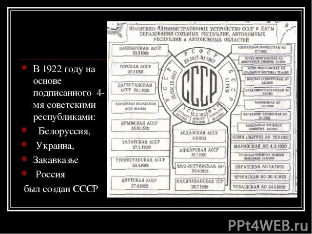 В 1922 году на основе подписанного 4-мя советскими республиками: Белоруссия, Украина, Закавказье Россия был создан СССР