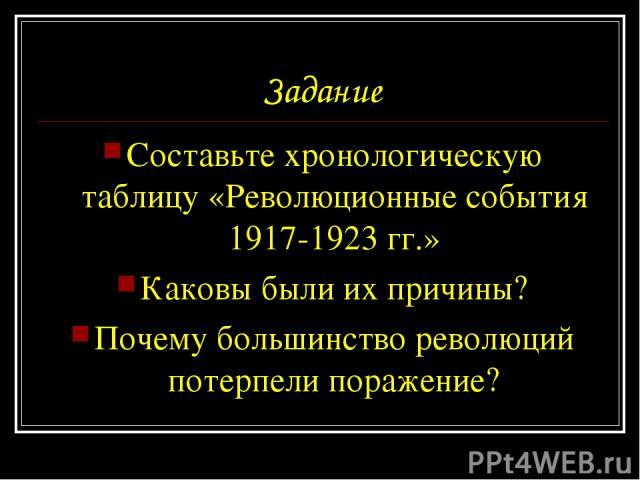Задание Составьте хронологическую таблицу «Революционные события 1917-1923 гг.» Каковы были их причины? Почему большинство революций потерпели поражение?