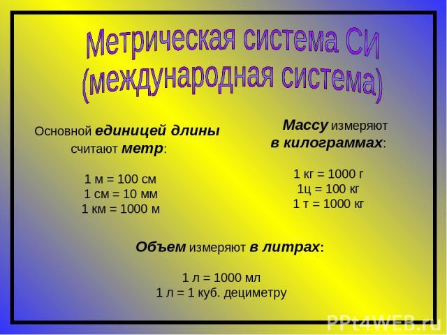 Основной единицей длины считают метр: 1 м = 100 см 1 см = 10 мм 1 км = 1000 м Объем измеряют в литрах: 1 л = 1000 мл 1 л = 1 куб. дециметру Массу измеряют в килограммах: 1 кг = 1000 г 1ц = 100 кг 1 т = 1000 кг