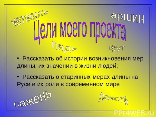 Рассказать об истории возникновения мер длины, их значении в жизни людей; Рассказать о старинных мерах длины на Руси и их роли в современном мире