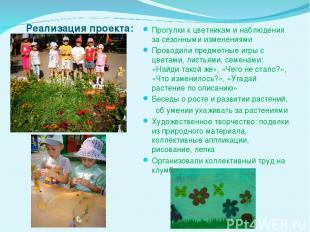 Реализация проекта: Прогулки к цветникам и наблюдения за сезонными изменениями П