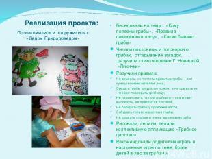 Реализация проекта: Беседовали на темы:«Кому полезны грибы», «Правила поведени